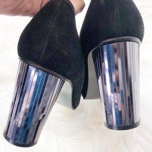 Stuart Weitzman blk suede pumps mirrored heel 10.5